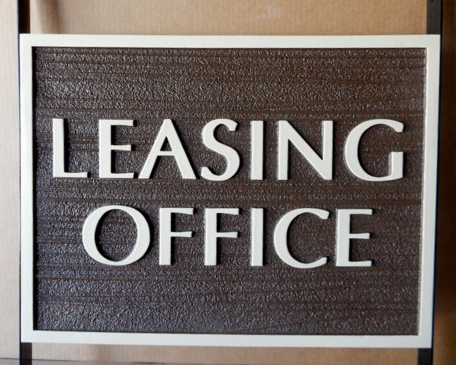 KA20519 - Carved Wood Look HDU (Choice of Wood or HDU Available) Sign for Leasing Office