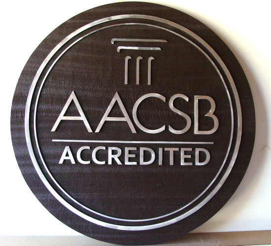 Y34390 - Carved 2.5D Cedar with Aluminum Overlay Wall Plaque of the Seal of AACSB
