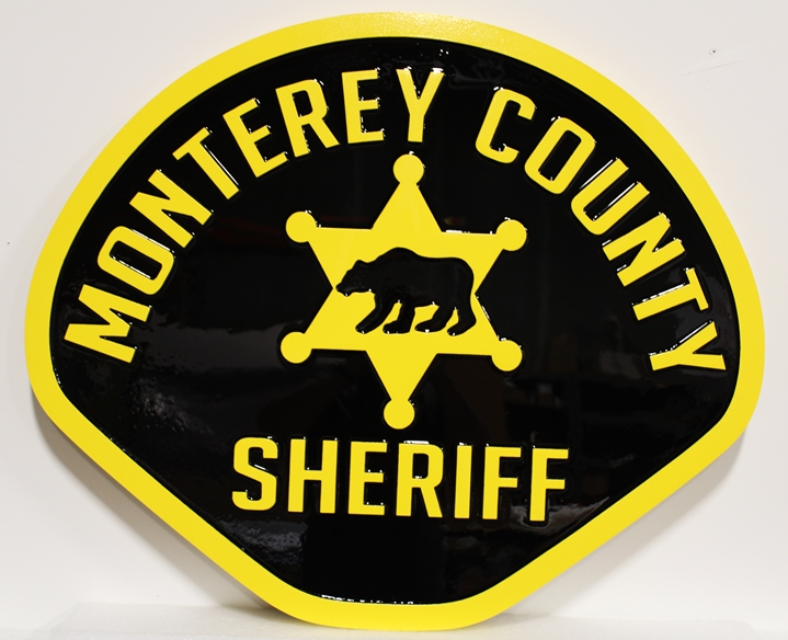 PP-2315 - Carved Plaque of the Shoulder Patch of the Monterey County Sheriff, 2.5-D Artist-Painted