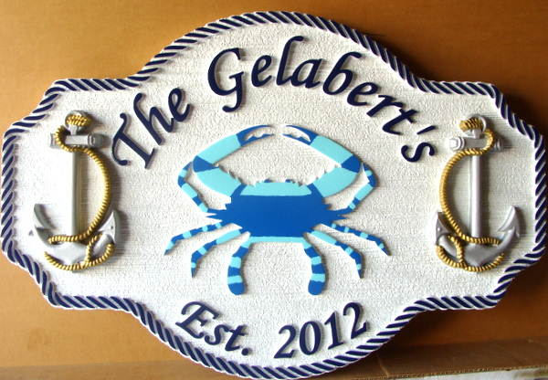 L21566  – Carved 3-D HDU Coastal Residence Sign, with Blue Crab and Ship Anchors.