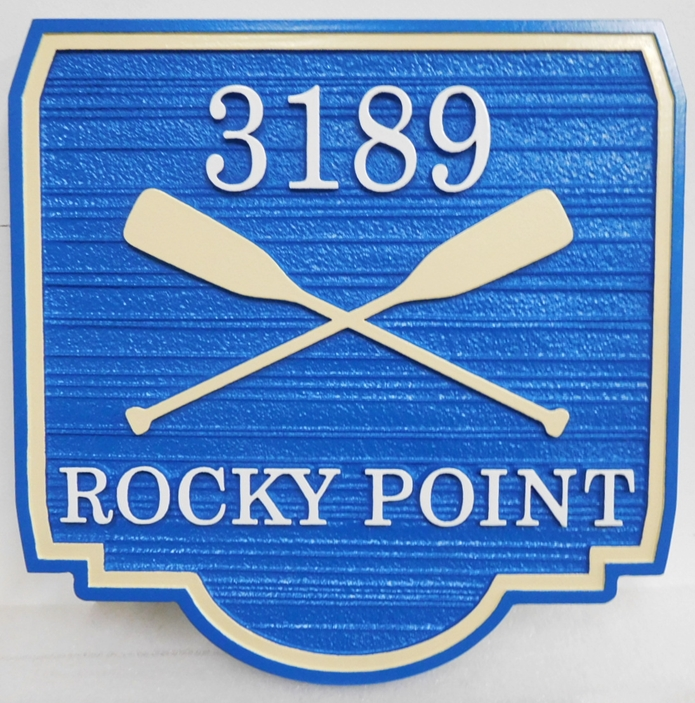 "M22451 - Carved Sandblasted (Wood Grain)  Street Address Sign for ""Rocky Point"" with Two Canoe Paddles"