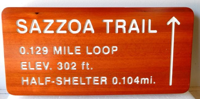 G16115 - Cedar Wood Sign for Trail Loop and Half-Shelter