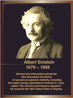 GC16535 -  Bronze Memorial Wall Plaque for Albert Einstein, with Photo