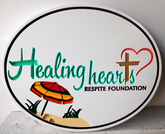 "L21056 - Engraved  HDU  Beach House Sign ""Healing Hearts """
