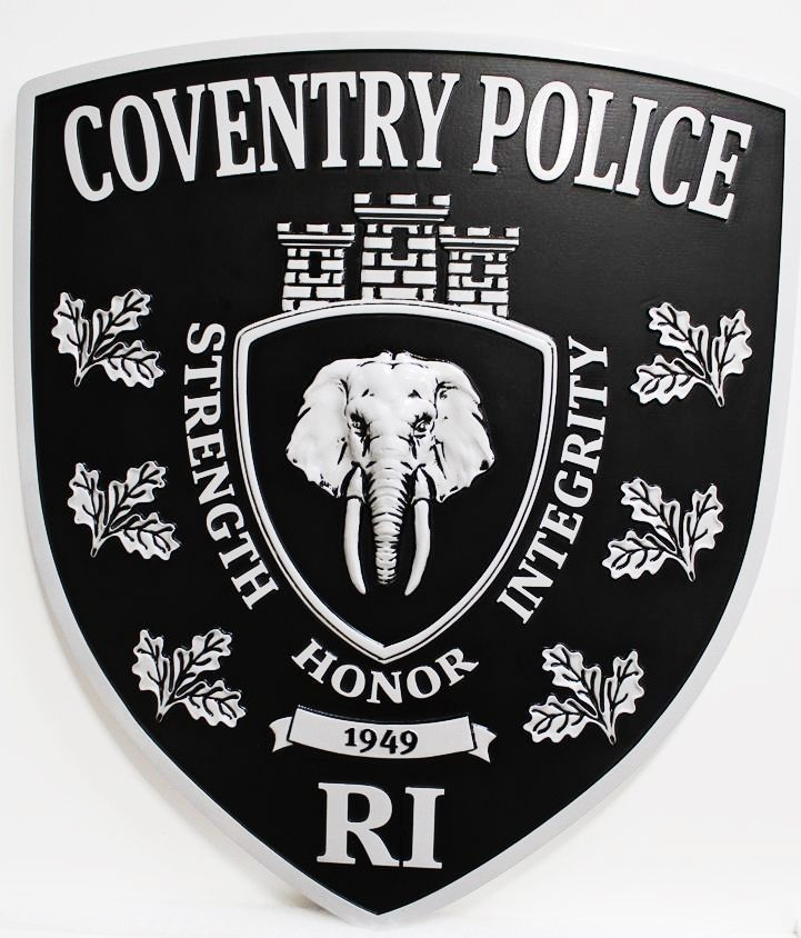 PP-2058 - Carved Plaque of the Shoulder Patch of the Coventry Police, Rhode Island, 3-D Aluminum-Plated