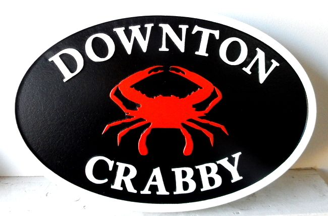 """L21568  – Carved 2.5-D HDU Coastal Residence Sign """"Downton Crabby"""" with Crab"""