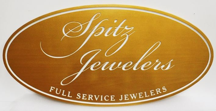 """SA28359 - Carved Engraved Sign for  """"Spitz Jewelers"""", 2.5-D Artist-Painted ."""