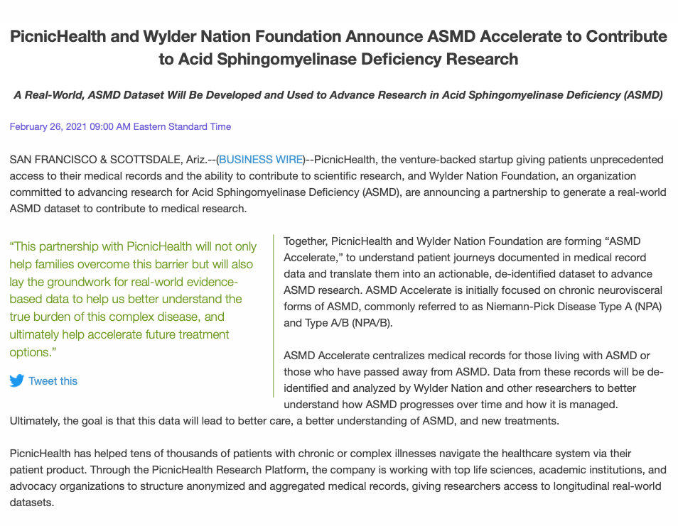 Wylder Nation partners with Picnic Health to launch ASMD Accelerate study