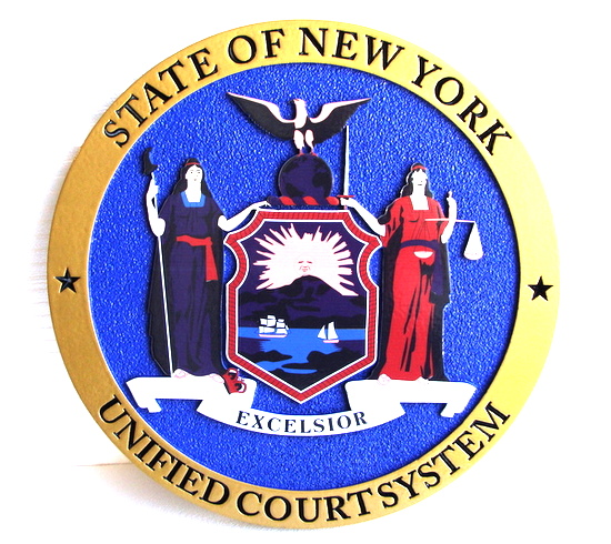 W32371C- Seal for New York Court Unified Court System, High-Density Urethane Plaque