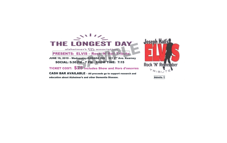 Fundraising for Alzheimer's. The Longest Day-June 19th at the Kearney Ramada Inn.