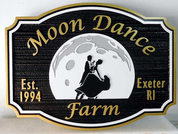 O24046-  Carved and Sandblasted HDU Sign for the Moon Dance Farm, with Dancers and Moon