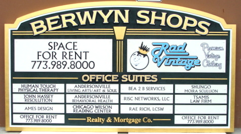 S28014 - Carved HDU Directory Sign with 16 Smaller Signs,  for Shopping Center or Strip Mall