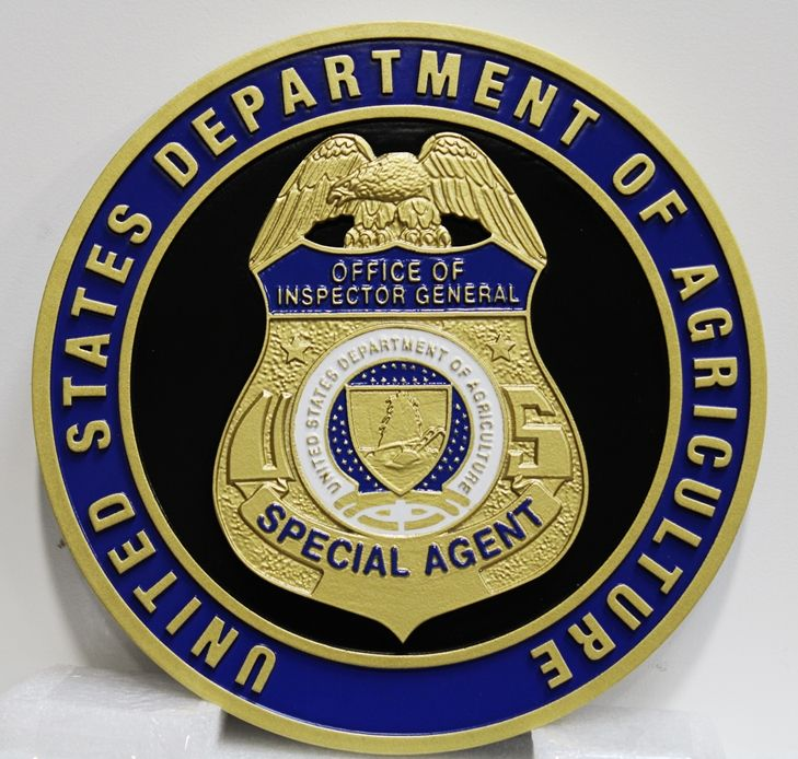 AP-6148 - Carved Plaque of the Badge of a Special Agent, US Department of Agriculture, 3-D Artist-Painted