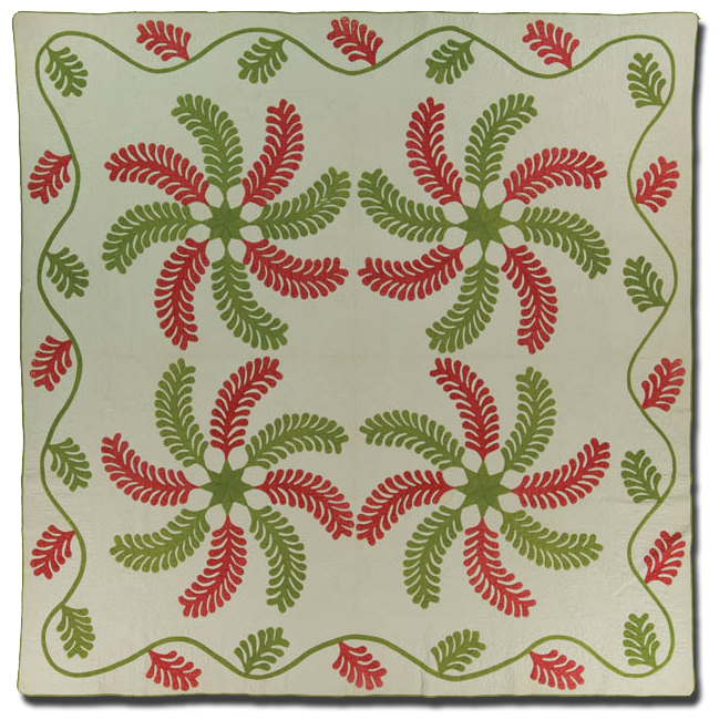 Princess Feather, made by Rebecca Gouffin Wilson & Isabella Irene Wilson Rhodes, made in North English, Iowa, United States, dated 1865, 84.75 x 84 in, IQSCM 2008.040.0200