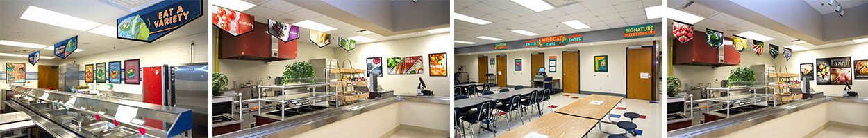 4 pictures of cafeteria signs with different school graphics, custom signs, nutrition education
