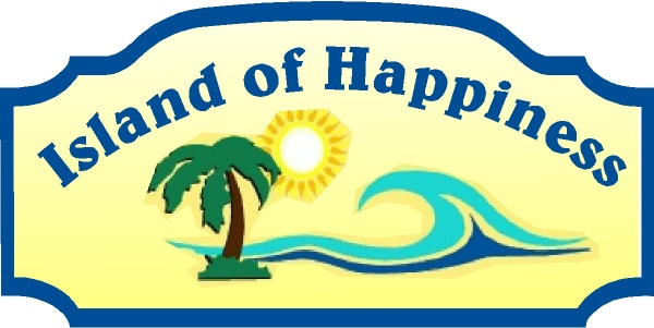 "L21166 - Design of a Sign for ""Island of Happiness"" with Wave, Sun and Palm Tree"
