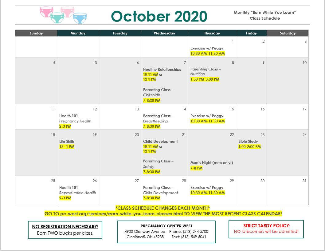 October 2020 Class Schedule