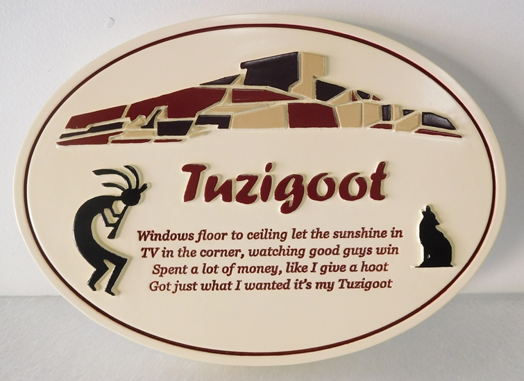 "N23181 -  Carved HDU Wall Plaque ""Tuzigoot"" , with Western Apache Pueblo as Artwork"