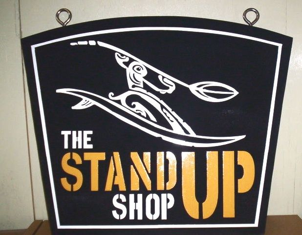 """SA28406 - Hanging Sign for """"The Standup""""  Kayak Shop  with Stylized Picture of a River Kayaker in Rapids"""