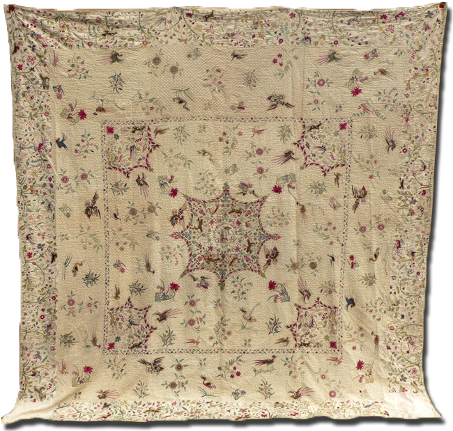 Bedcover, maker unknown, probably made in Britain, early 18th century, 98 x 97 in, IQSCM 2009.001.0001