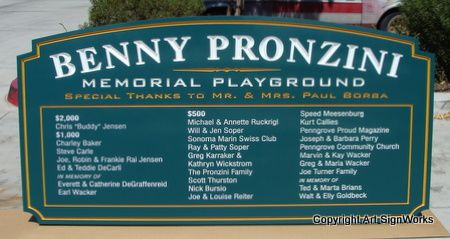 GA16493 - Wooden Memorial Entrance Sign for Playground with Benefactor List