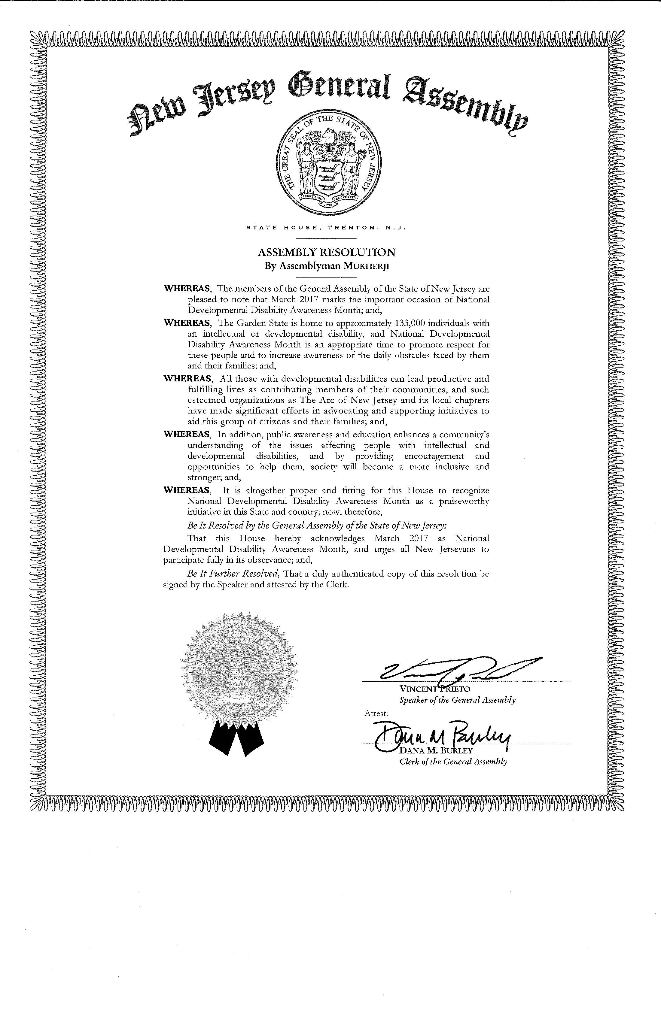 New Jersey General Assembly Resolution: March is DD Awareness Month