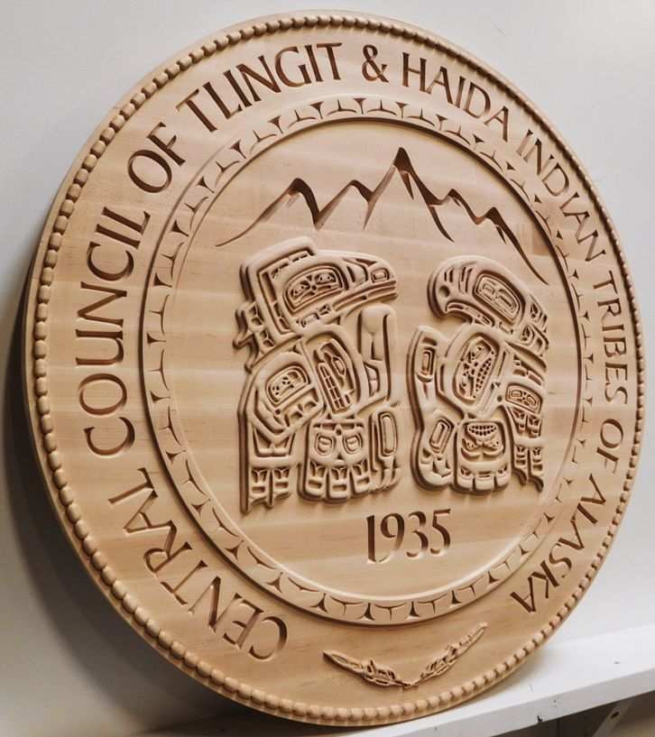 DP-2290 - Carved Plaque of  the Emblem of  Emblem of the Tlingit and Haida Indian Tribes of Alaska, Maple Wood (Perspective View)