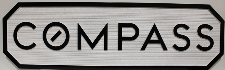 "S28136 - Carved and Sandblasted Wood Grain Sign  for the ""Compass"" Company."