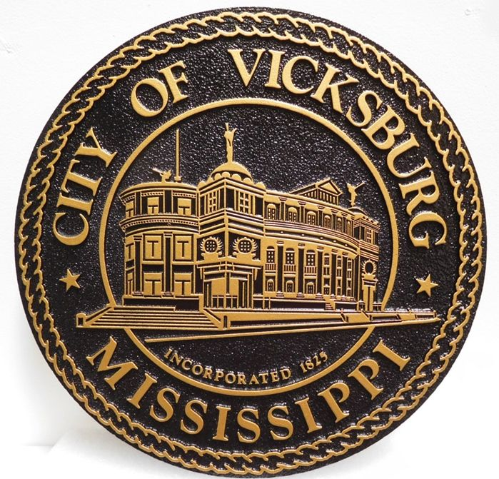 MA1165 - Seal of City of Vicksburg, Mississippi, 2.5-D and Sandblasted
