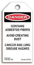 Contains Asbestos Fibers Danger Tag