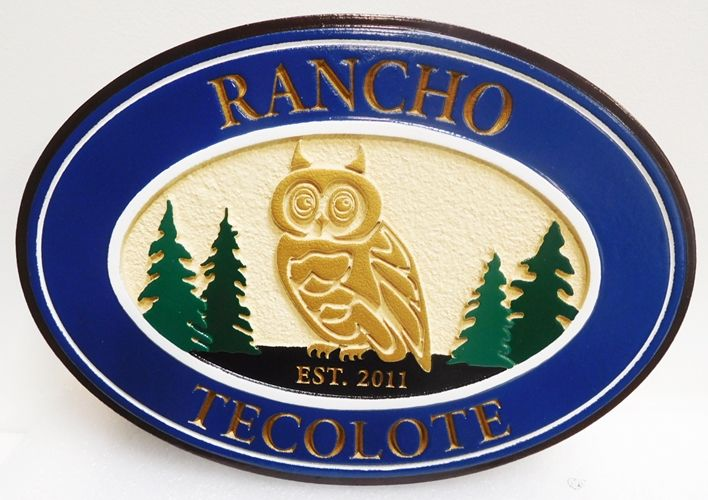 """O24629 - Carved Entrance Sign for """"Rancho Tecolote""""  with Carved  Owl and Trees as Artwork"""