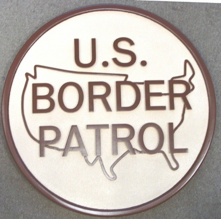 U30335 - US Border Patrol Emblem Carved Wall Plaque