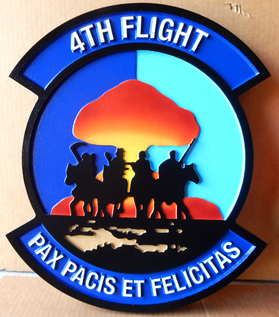 "LP-2600 - Carved Round Plaque of the Crest of the 4th Flight, ""Pax Pacis Et Felicitas"",  Artist Painted Four Horsemen"