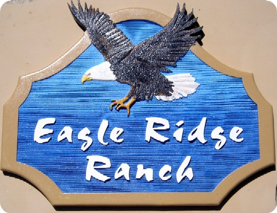 M2086 - Ranch or Cabin Sign with Carved Bald Eagle (Gallery 21)