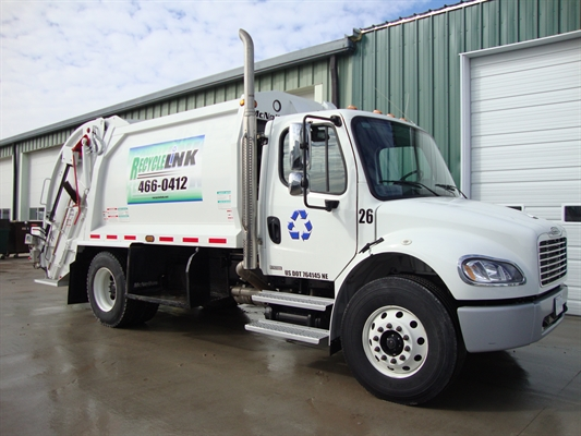 A recycling services truck at Uribe Refuse Services in Lincoln, NE