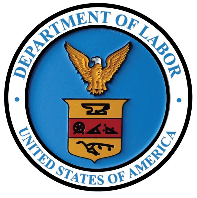 AP-6095 - Carved Plaque of the Seal of the US Department of Labor, Artist Painted