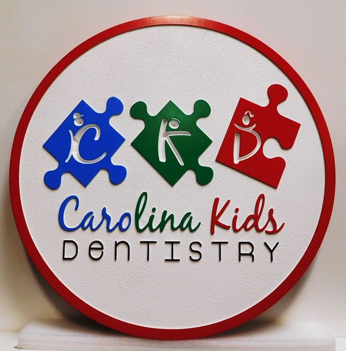 VP-1452 - Carved Plaque of the Logo for the Carolina Kids Dentistry, 2.5-D Artist-painted