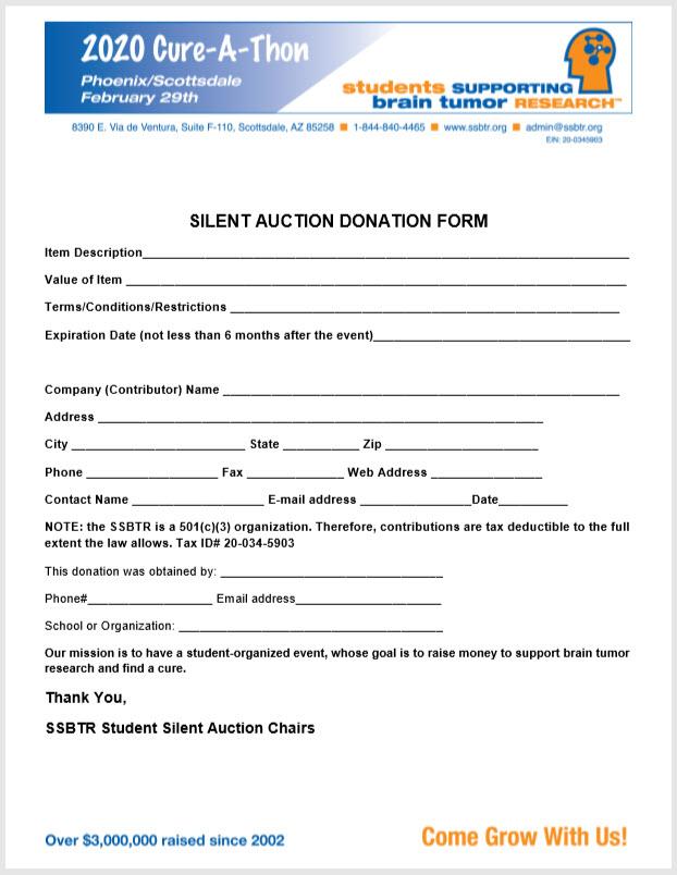 2020 SSBTR Silent Auction Form .....