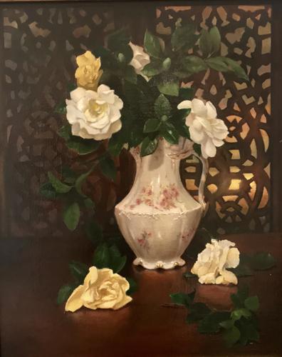 Gardenias in a Teapot at Sunrise