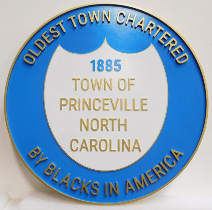 DP-2010 - Carved Plaque of The Seal of the Town of Princeville, North Carolina, Artist-Painted