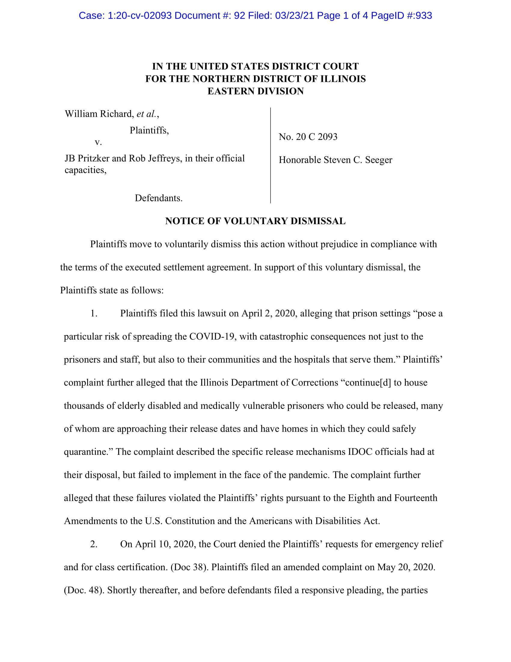 Richard v. Pritzker Settlement