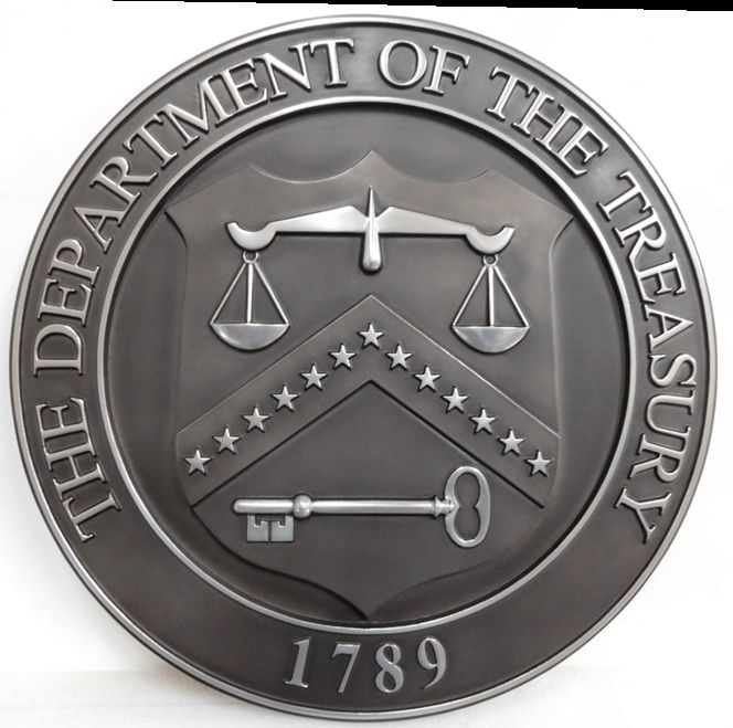 AP-4650 - Carved Plaque of the Seal of the Department of the Treasury , 3-D Nickel-Silver Plated
