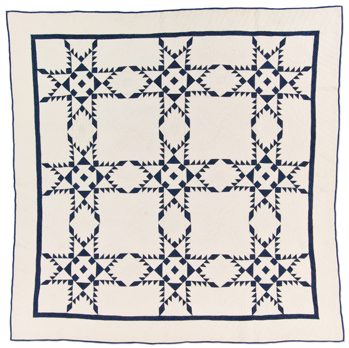 Feathered Star, made by Mary Caroline Robinson Olds, circa 1895, made in Dekalb County, Indiana, hand pieced, hand quilted, 78 x 78 inches, IQSCM 1997.007.0172, Ardis and Robert James Collection
