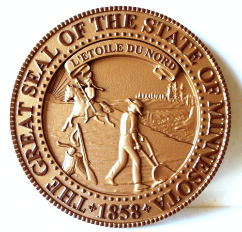 W32281 - 3D Carved Wooden Wall Plaque of the Great Seal of the State of Minnesota