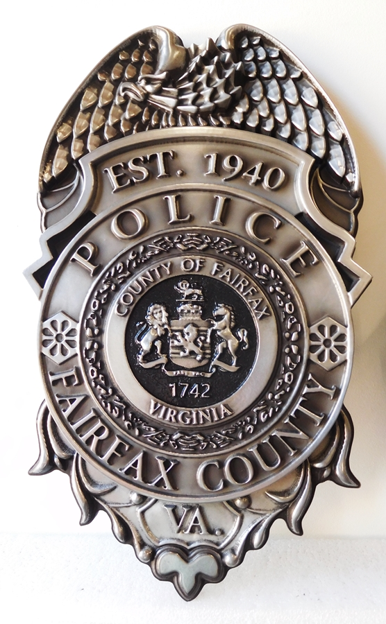X33408 - 3-D Metal-Coated Badge of the Police Department of Fairfax County, with Rubbed Black Paint Effect