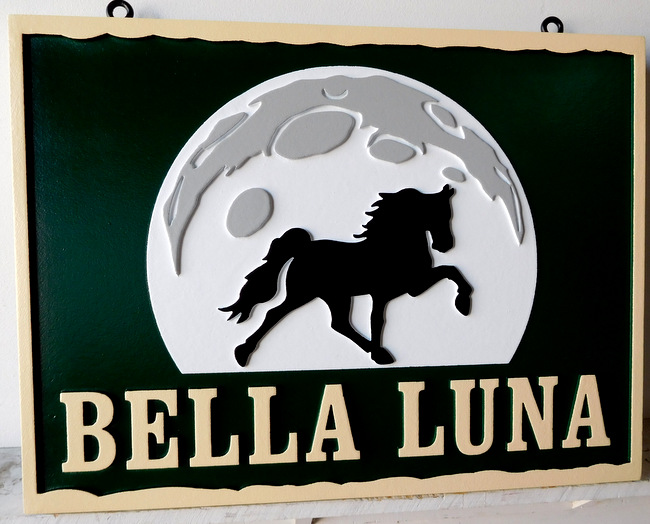 P25054 - Carved HDU For Bella Luna (Beautiful Moon) Horse Stables with Prancing Stallion Crossing the Moon