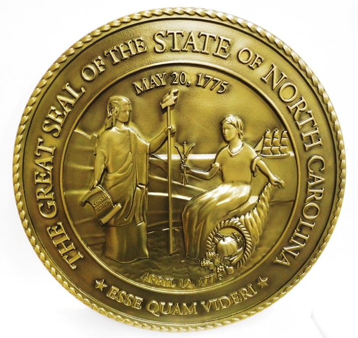 BP-1402 - Carved Plaque of the Great Seal of the State of North Carolina, Brass-Plated