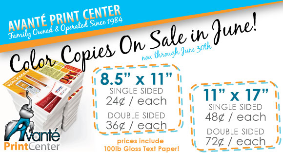 Color Copies On Sale in June!