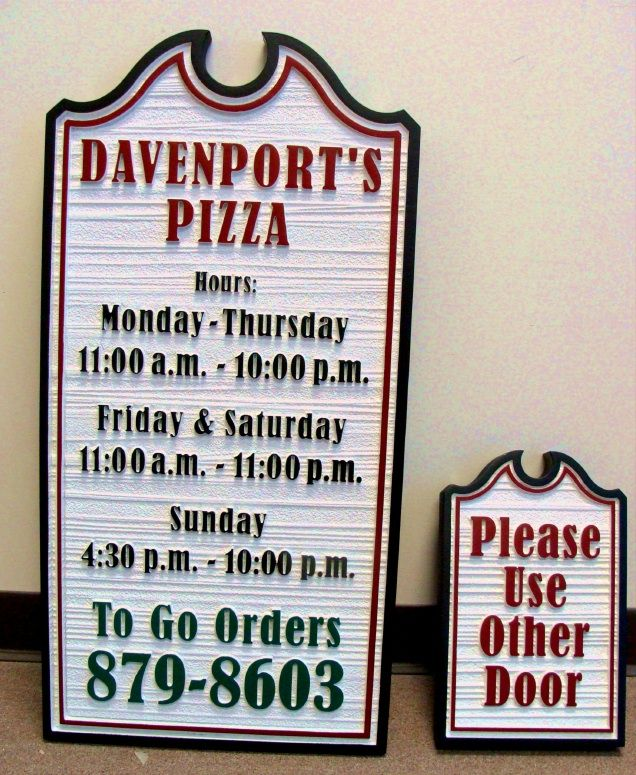 Q25215 - Sandblasted Pizza Sign with To Go Orders
