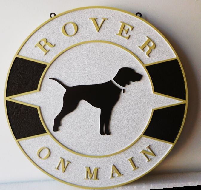 "BB11791 - Carved and Sandblasted Round  Sign for the ""Rover on Main"" Store, with Profile of a Retriever as Artwork."